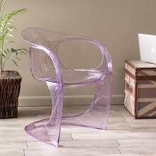 Purple Accent Chairs Living Room Zari Modern Transparent Purple Pc Curvy Ghost Accent Chair