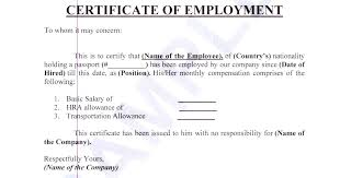 Salary Certificate Template Coe With Compensation Sample