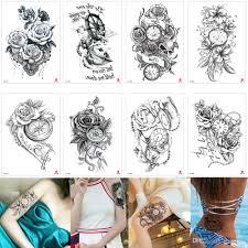 поддельные черное цветочное время временная боди арт татуировка для рук ноги
