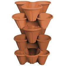 6 X Strawberry Planter Trio Pot Stacking Herb Flower Bed Garden Terracotta  Brown