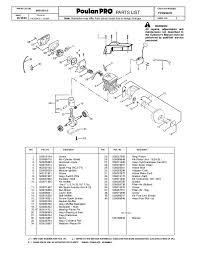 poulan pro illustrated parts list parts list no