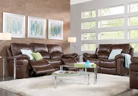 Living rooms with brown furniture Light Blue Shop Now Vercelli Brown Leather Pc Living Room With Reclining Sofa Rooms To Go Leather Living Room Sets Furniture Suites