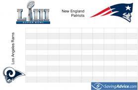 Football Play Chart 2018 Free Printable Super Bowl Squares Chart For Super Bowl Liii