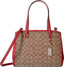COACH Women s Signature Stanton 29 Carryall Sv Khaki True Red One Size
