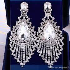 2018 big rhinestone earrings tassel silver clips on wedding hyperbolic drop earrings fashion oem personalized dangle jewelry free dhl from