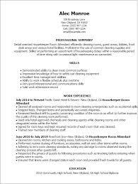 room attendant resume