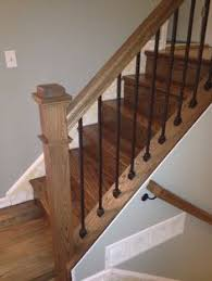 replace stair railing. The Oak Post And #railing Contrast Eloquently With Iron Spindles To Attractively Accent A Replace Stair Railing