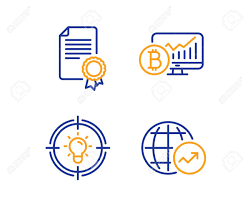 Certificate Bitcoin Chart And Idea Icons Simple Set World Statistics