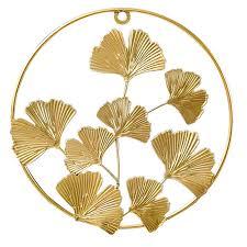 living room golden leaf ornaments wall