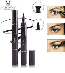 mlle rose double fin facile à porter la marque noir timbre eye liner crayons maquillage