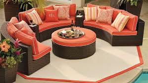 patio circular outdoor furniture outdoor furniture cheerful orange cushion and throw pillows black arched