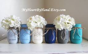 Ball Jar Decorations Baby Shower Mason Jar Centerpieces Nautical Theme Painted Ball 55