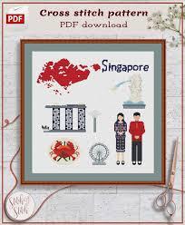 Singapore Cross Stitch Pattern Asia Cross Stitch Chart Country Cross Stitch Design Modern Cross Stitch Pdf