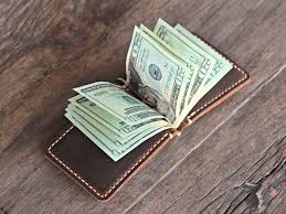 leather money clip travel wallet