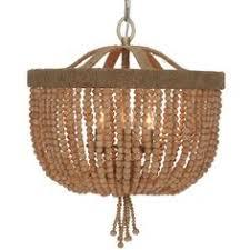 wood bead basket and jute frame mini chandelier