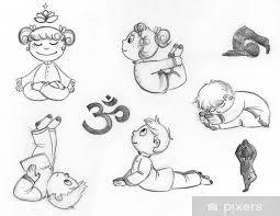 Carta Da Parati I Bambini Che Praticano Posizioni Yoga Disegnati A