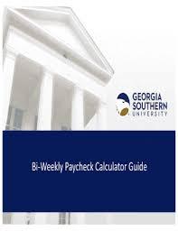 Fillable Online Jobs Georgiasouthern Bi Weekly Paycheck Calculator