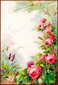 Small Picture Vintage Field Garden Illustrated Border Flowers in a Victorian