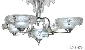 antique french art deco 5 light chandelier with ezan icicle shades rewired for led ant 479 for