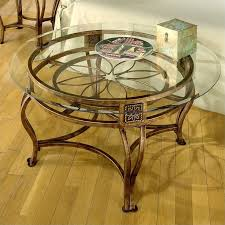 hilale scottsdale round glass top coffee table in brown rust finish