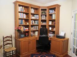 Built In Office Desk And Cabinets Custom Solid Walnut Corner Home Office Desk Cabinets And Bookcase