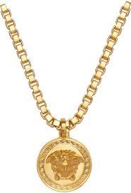 lyst versace gold medusa necklace in metallic for men