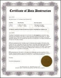Sample Certificate Of Data Destruction Big Data Supply Inc