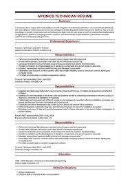 Sample Avionics Technician Resume