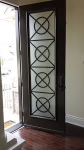 8ft tall factory painted steel door with extra tall contemporary lasercut insert