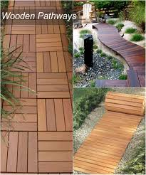 wonderful wooden garden pathway idea with chic wood pattern for walkway for lush garden