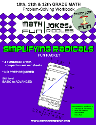 Simplifying Radicals Packet of FUNCommon Core Math Fun!