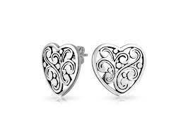 Scroll Heart Bling Jewelry Large Sterling Silver Filigree Scroll Heart Stud Earrings Newegg Com