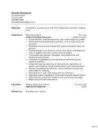 Resume Templates Sample For Hotel Literarywondrous Example