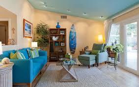 Living Room:Magnificent Tropical Coastal Theme Living Room Interior Ideas  With Blue Comfy Sofa And