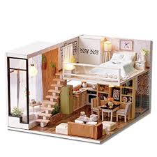 Furniture miniature Diy Cutebee Dollhouse Miniature With Furniture Wooden Diy Dollhouse Kit Plus Dust Proof And Music Movement Amazoncom Amazoncom Cutebee Dollhouse Miniature With Furniture Wooden Diy