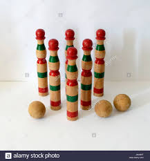 Antique Wooden Bowling Game Vintage wooden bowling kit game with balls Made in Spain with 22