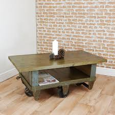 vintage industrial trolley coffee table upcycled cart reclaimed waxed rustic