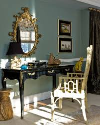 green dining room with chair rail. via katie rosenfeld design green dining room with chair rail i