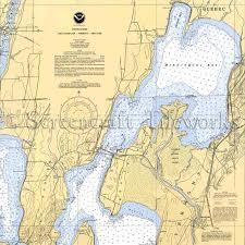 Vermont Lake Champlain North Vt Quebec Nautical Chart Decor