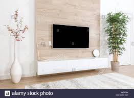 Led Wooden Wall Design Living Room With Couch And Led Tv On Wooden Wall In Modern