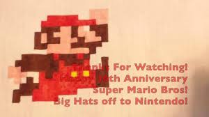 8 Bit Mario Graph Paper Art Super Mario Bros 30th Youtube