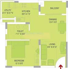 1 BHK 750 Sq. Ft. Apartment Floor Plan