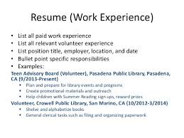 Resume (Work Experience) ...
