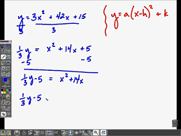 rewrite quadratics from standard to vertex form
