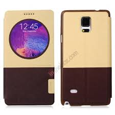 baseus unique series window smart cover stand protective leather case for samsung galaxy note 4