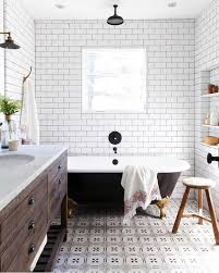 This is -rustic modern farmhouse bathroom with white subway tile ...