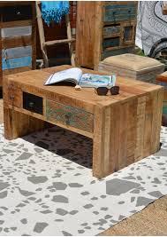 vintage timber multi drawer coffee table