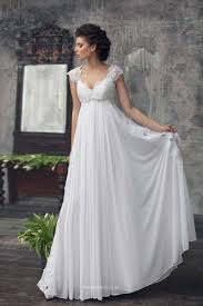 empire waist wedding dress with sleeves. elegant a line cap sleeves empire waist lace chiffon wedding dress with h