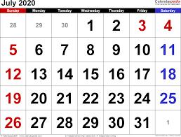June July 2020 Calendar July 2020 Calendars For Word Excel Pdf
