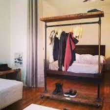custom made industrial garment rack with top shelf